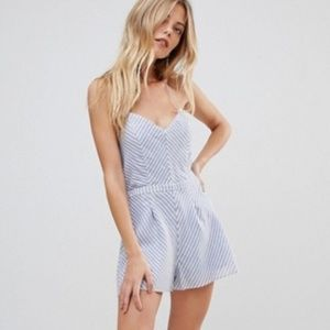 The Jetset Diaries Haven Romper in Chambray Stripe